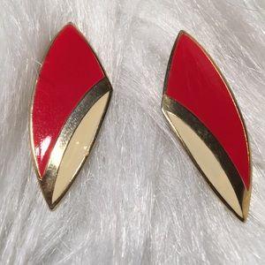 Vintage 1980's Pierced Earrings Red White Gold